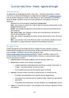 Cours Visio Agenda Sheets de Google