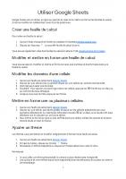 Utiliser Google sheets